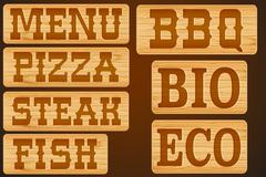 Nameplate of wood with words Menu Grill Steak Pizza - stock illustration