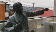 Exterior of the statue of Pablo Neruda in Valparaiso, Chile. Stock Footage
