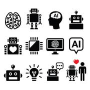 Artificial Intelligence (AI), robot icons set - stock illustration