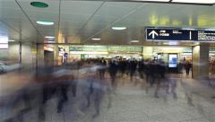 5K Motion Control Pan Time Lapse of Rush Hour Commuters at Shinjuku Station Stock Footage