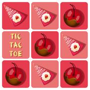Tic-Tac-Toe of  chocolate covered cherry and strawberry cake Stock Illustration