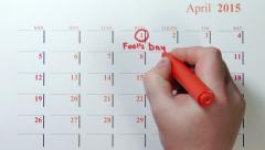 The calendar april 2015 - stock footage