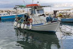 Fisherman boat in Corfu island, Ionian Sea. Stock Photos