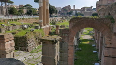 Stock Video Footage of The ruins of the Roman Forum. Rome, Italy. 4K