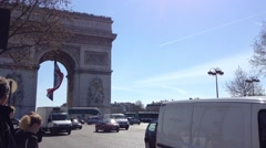 The Triumphal Arch traffic Paris, France, HD Stock Footage