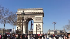 People Crowd at Triumphal Arch, Audio HD Stock Footage