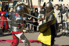 Knights fights - stock photo