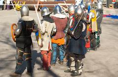 Stock Photo of Medieval knights in row