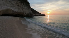 Sunset on Myrtos Beach (Greece,  Kefalonia, Ionian Sea). Stock Footage