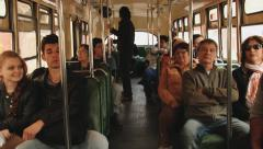 Passengers ride in the old trolleybus in Valparaiso, Chile. Stock Footage