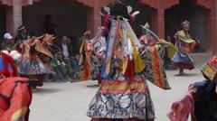Masked Dancers ,Lamayuru,Ladakh,India Stock Footage