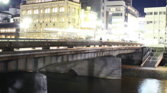 Motion Control Pan Time Lapse of Kamogawa River in Kyoto at Night -Close Up- Stock Footage