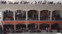 Spectators at Festival, 3 levels,Lamayuru,Ladakh,India - stock footage