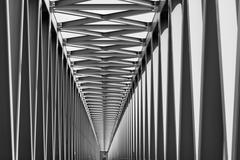 Railway metal bridge perspective view - stock photo