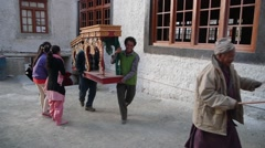 At the end of Festival, monks return to Gompa,Lamayuru,Ladakh,India Stock Footage