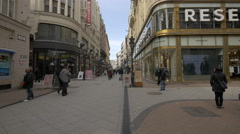 Vaci Street in Budapest Stock Footage