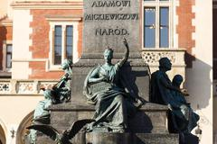 Detail of the monument to Adam Mickiewicz - stock photo