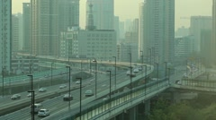 Smog and Highway traffic in China - stock footage
