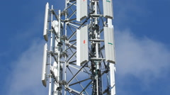 Cellphone tower. Detail with real time clouds. Stock Footage