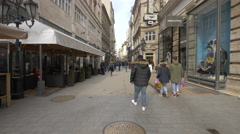 Walking on the shopping Vaci Street in Budapest Stock Footage
