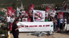 Demonstrators with posters Stock Footage