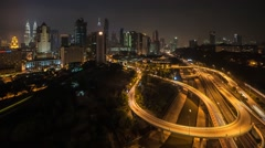 Time Lapse: View of a busy cityscape  interwined street during night with light Stock Footage