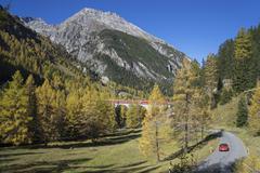 Road to Albula Pass, Graubunden, Swiss Alps, Switzerland, Europe Stock Photos