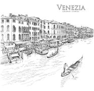 Venice - Grand Canal. The view from the Rialto Bridge. Vector drawing Piirros