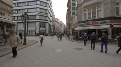 Shopping street in Budapest Stock Footage