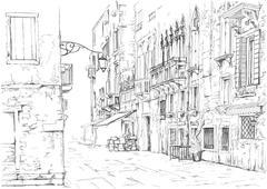 Venice - Calle Fondamenta Megio. Ancient building. Vector drawing Piirros