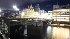4K Motion Control Pan Time Lapse of Kamogawa River in Kyoto at Night -Zoom In- Stock Footage
