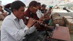 Sumur festival musician,Sumur,Ladakh,India Stock Footage
