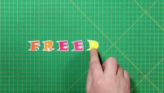 Popular English words. freedom - stock footage