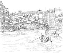 Venice - Grand Canal. View of the Rialto Bridge. Vector drawing Piirros