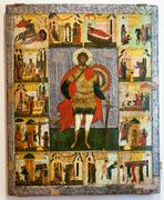 Antique Russian orthodox icon of St. Theodore the Stratelates - stock photo