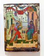 Antique Russian orthodox icon painted on wooden board - stock photo