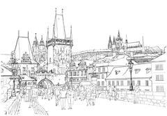 Charles Bridge - Prague, Czech Republic Stock Illustration
