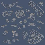 Childcare Doodle Icon Set On Blue. - stock illustration