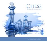 Stock Illustration of Chess figures, led by King on a blue background