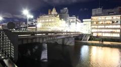 4K Motion Control Pan Time Lapse of Kamogawa River in Kyoto at Night Stock Footage