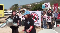 Peaceful demonstration for freedom to dolphins 2 Stock Footage