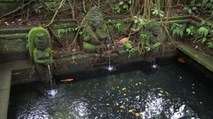 Water spring hindu temple at sacred monkey forest. Ubud, Bali, Indonesia Stock Footage