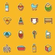 Set of hand drawn stickers on baby care theme - stock illustration