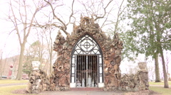 Shrine in a Cemetery with bird sounds in background Stock Footage