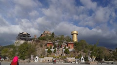 View of old city and Temple,Shangri-la,China, Peoples Rep - stock footage