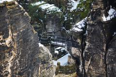 Rocks near the famous Bastei in Swiss Saxony - stock photo
