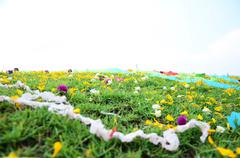 Wind with Colored papers placed on a grave during Qingming Festival - stock photo