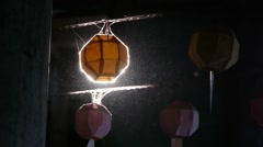Lampion with dust,backlight in Korean Temple,Lumbini,Nepal Stock Footage