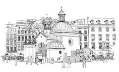 The town square in Krakow. Poland. Black & white vector sketch - stock illustration