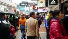 Walking on busy and crowded street of HongKong Stock Footage